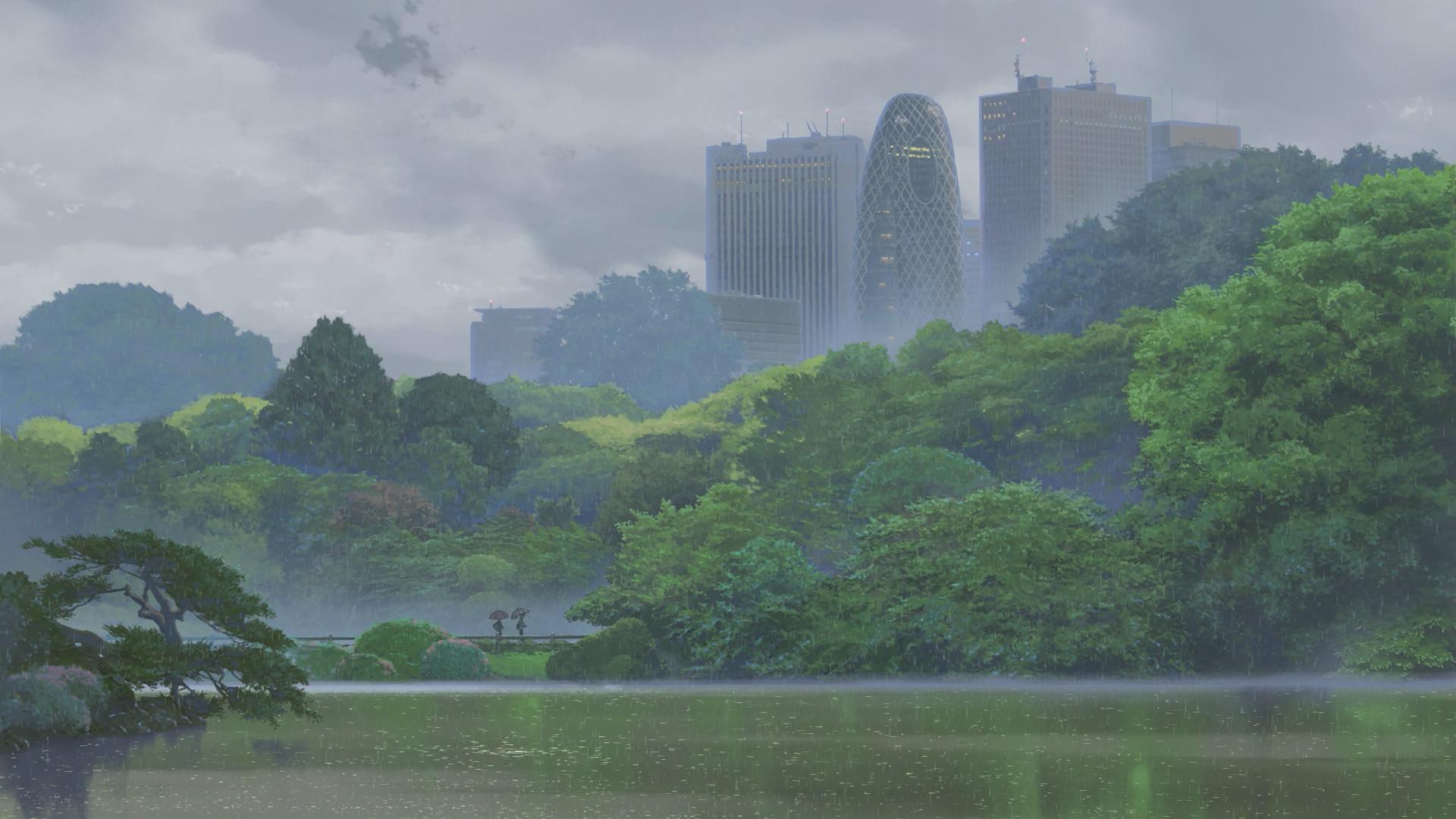 garden, The Garden Of Words, Green, Nature, Anime, Rain, Trees