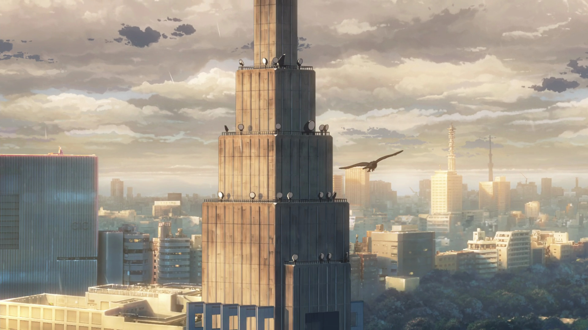 Anime anime The Garden of Words cityscape painted building  building