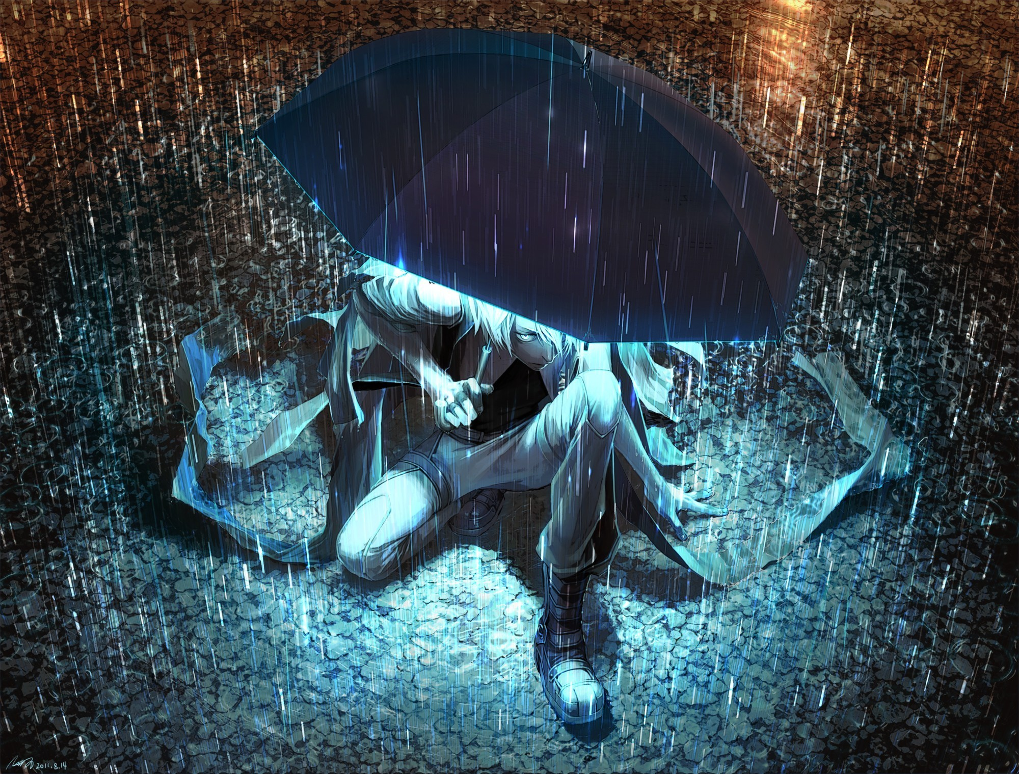 Umbrellas Anime Rain · anime artwork makoto shinkai the garden of words