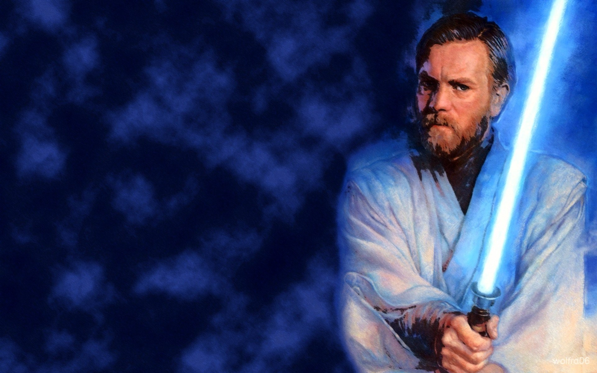 star wars blue lightsaber obi- wan kenobi jedi