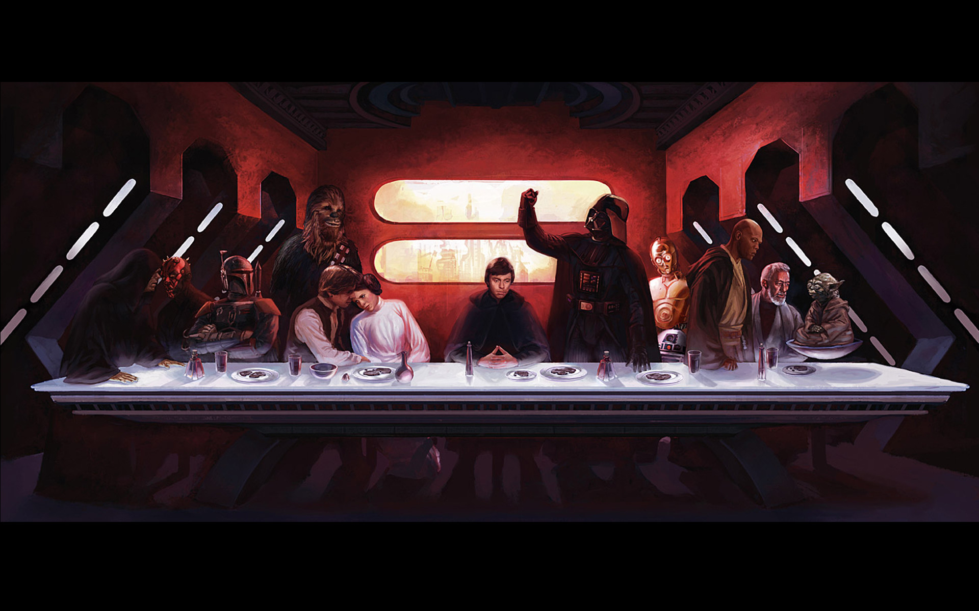 Star wars c3po darth maul darth vader boba fett luke skywalker han solo  chewbacca leia organa