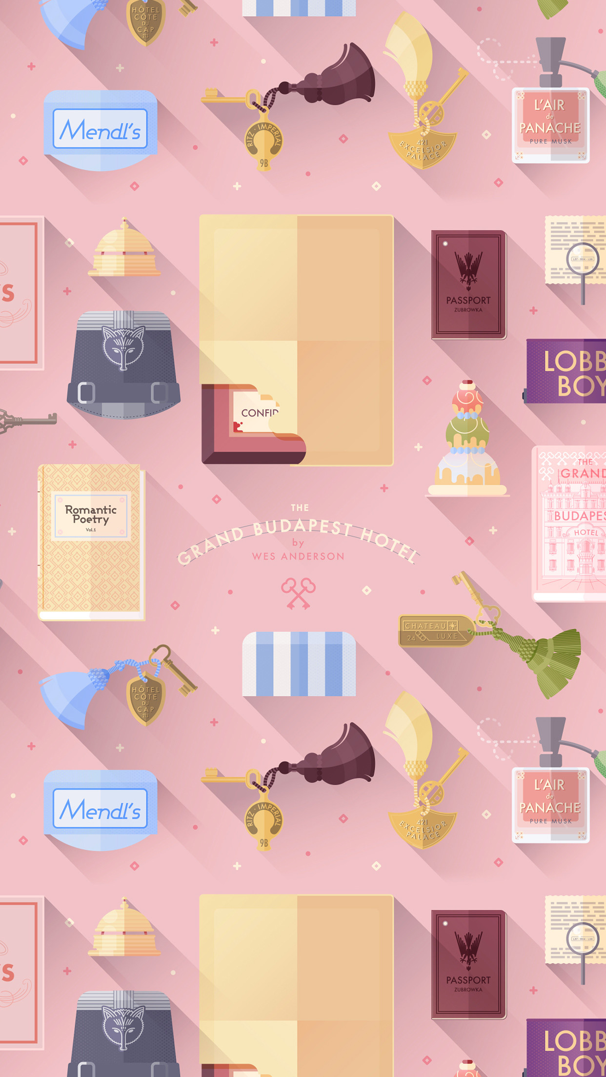 A little tribute to The Grand Budapest Hotel, Wes Anderson movie, on a flat  design version. – vector icons icon with shadows