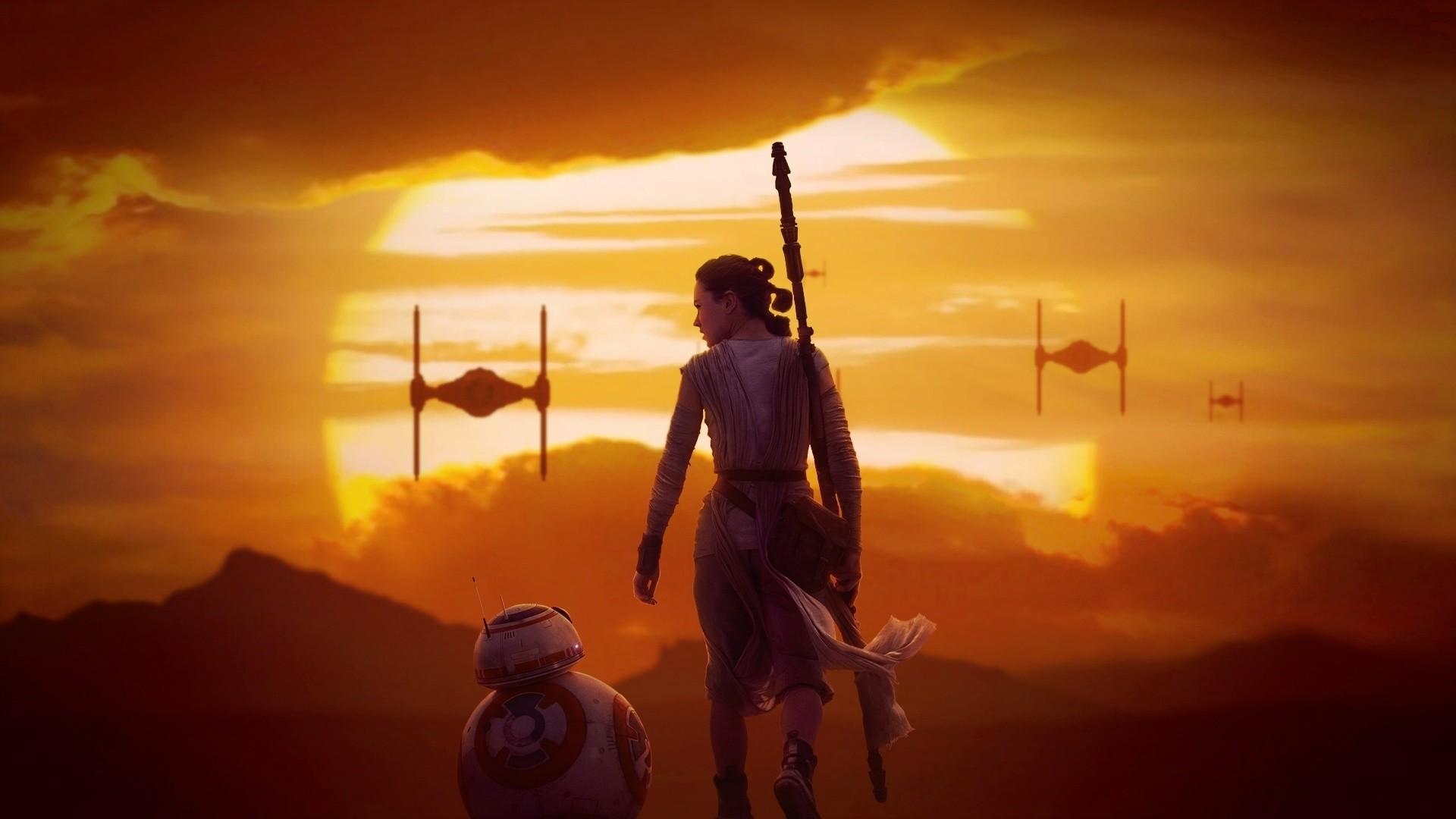 Rey & BB-8 at Sunset – Star Wars 7: The Force Awakens 1920×1080