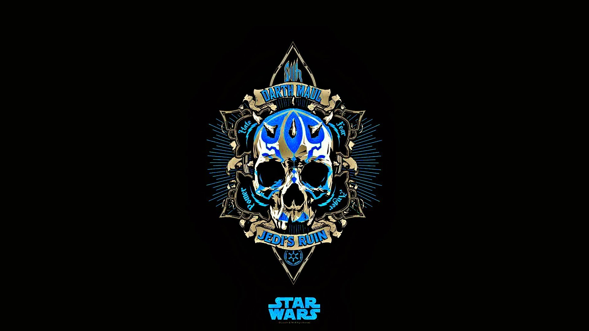 Star Wars, Jedi, Skull, Blue, Black, Darth Maul, Minimalism Wallpapers HD /  Desktop and Mobile Backgrounds