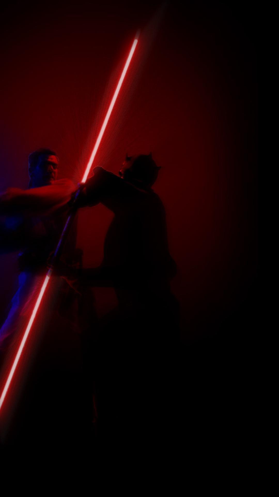 star wars fight darth maul lightsabers obi-wan kenobi HD Wallpaper of .