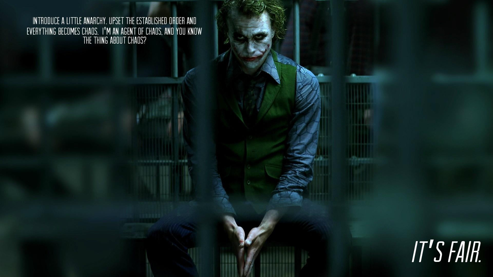 Batman Dc Comics Heath Ledger Jail Quotes The Dark Knight Joker