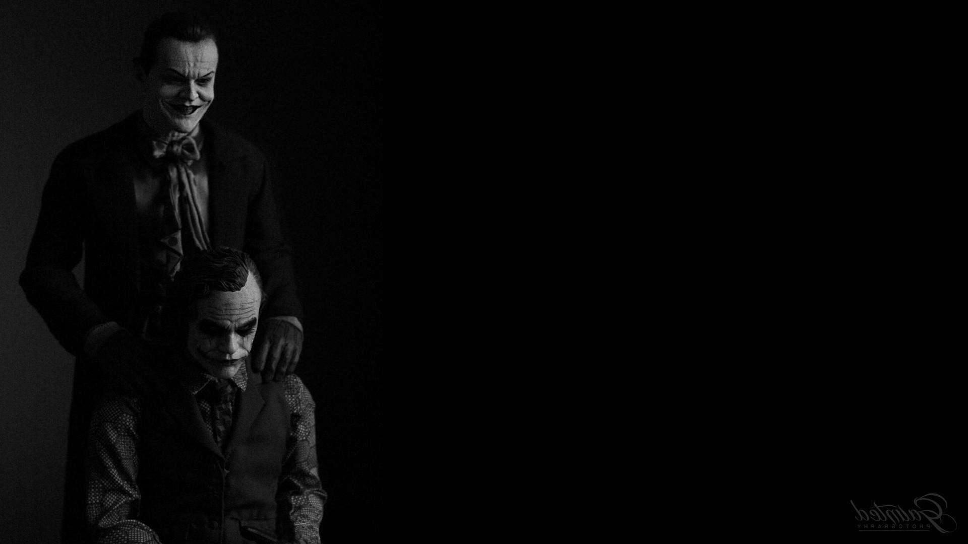 Joker, The Dark Knight, Batman, Heath Ledger, Jack Nicholson, Black  Background