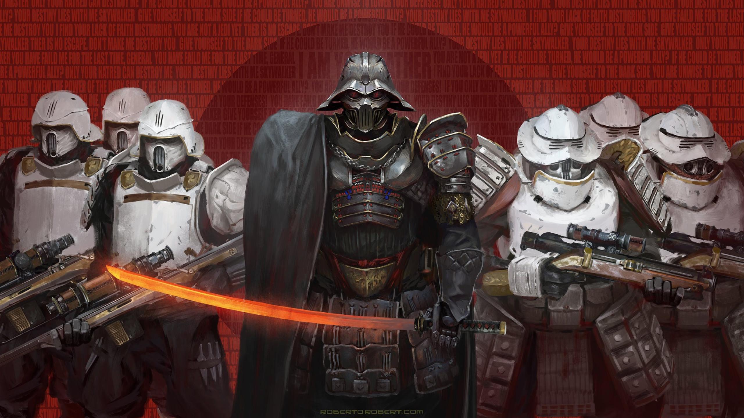 Download science fiction, samurai, Star Wars, Darth Vader, sword,  art Wallpapers