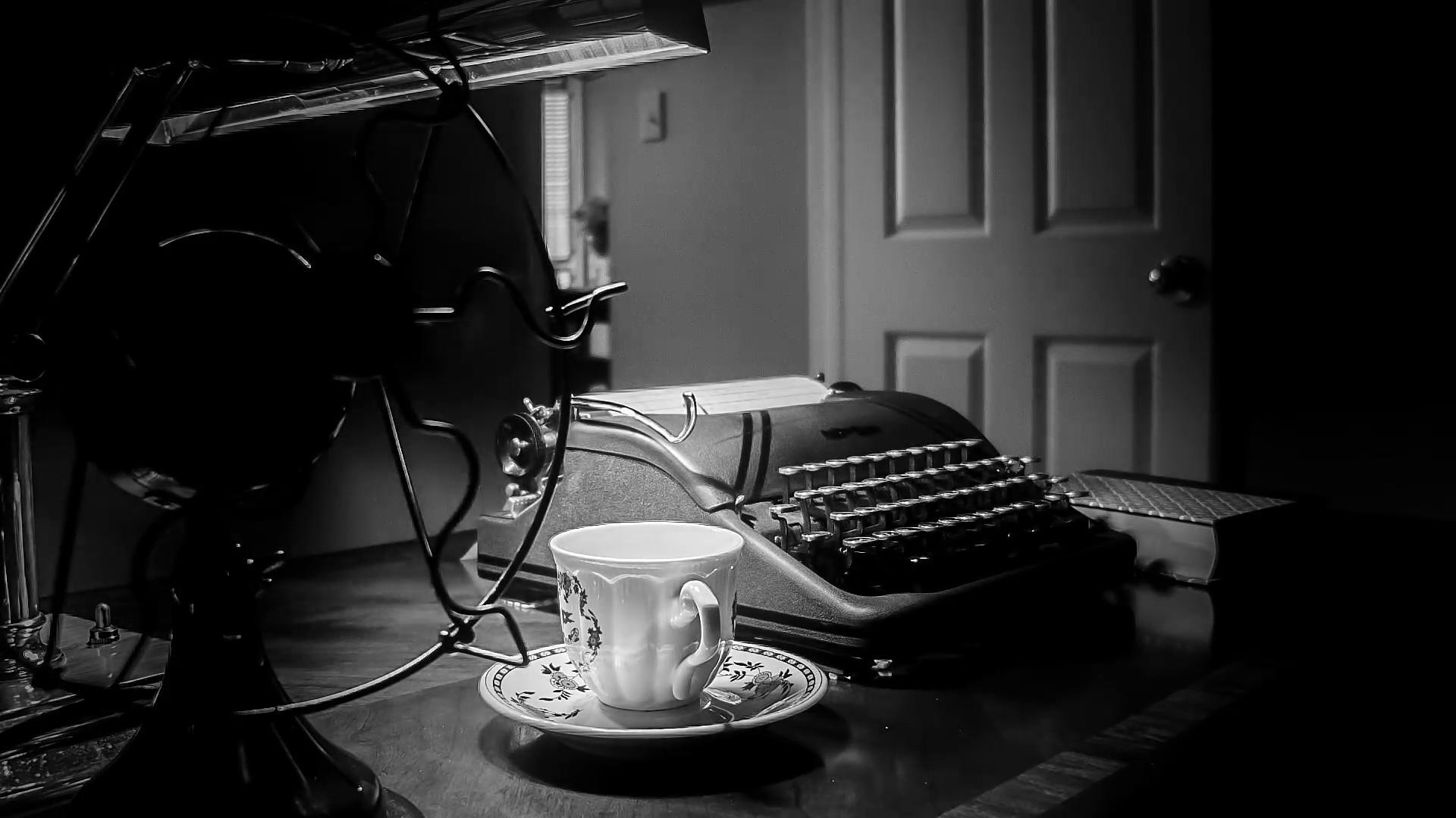 film noir shot of old fan and typewriter. Stock Video Footage – VideoBlocks