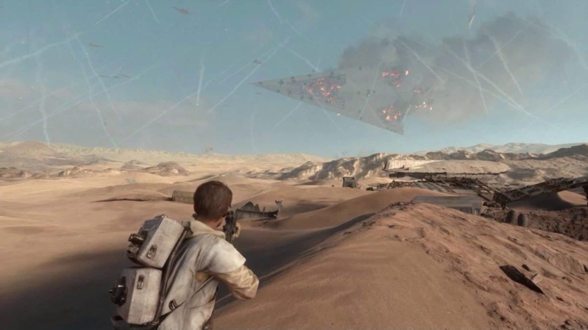 Super Star Destroyer Crashes To The Ground Star Wars Battlefront
