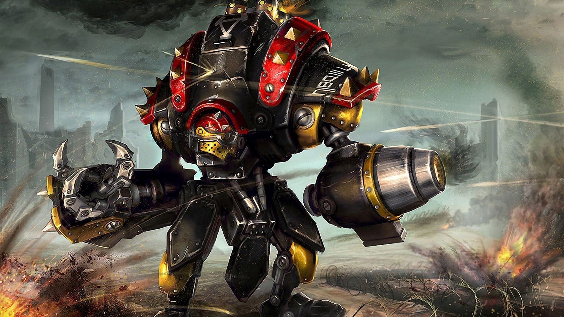 robot, Mech, Artwork, Fantasy Art, War, Destruction, Concept Art, Warmachine  Wallpapers HD / Desktop and Mobile Backgrounds
