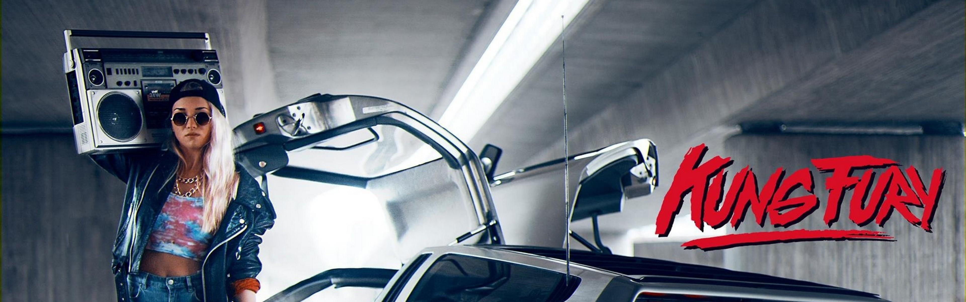 Preview wallpaper kung fury, boombox, radio, subway, car, girl 3840×1200