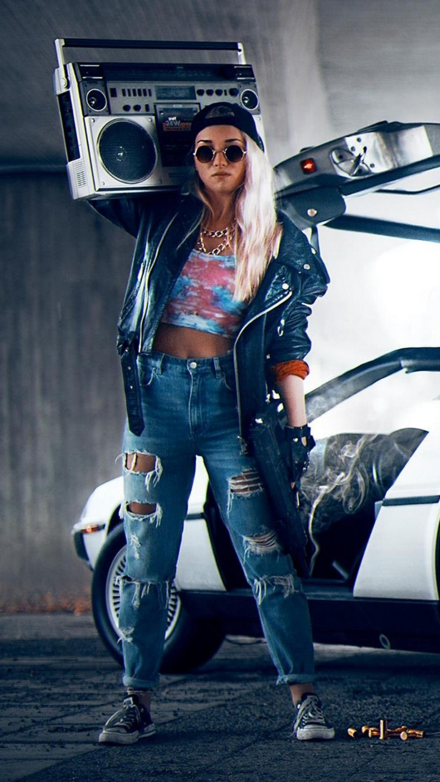 Wallpaper kung fury, boombox, radio, subway, car, girl