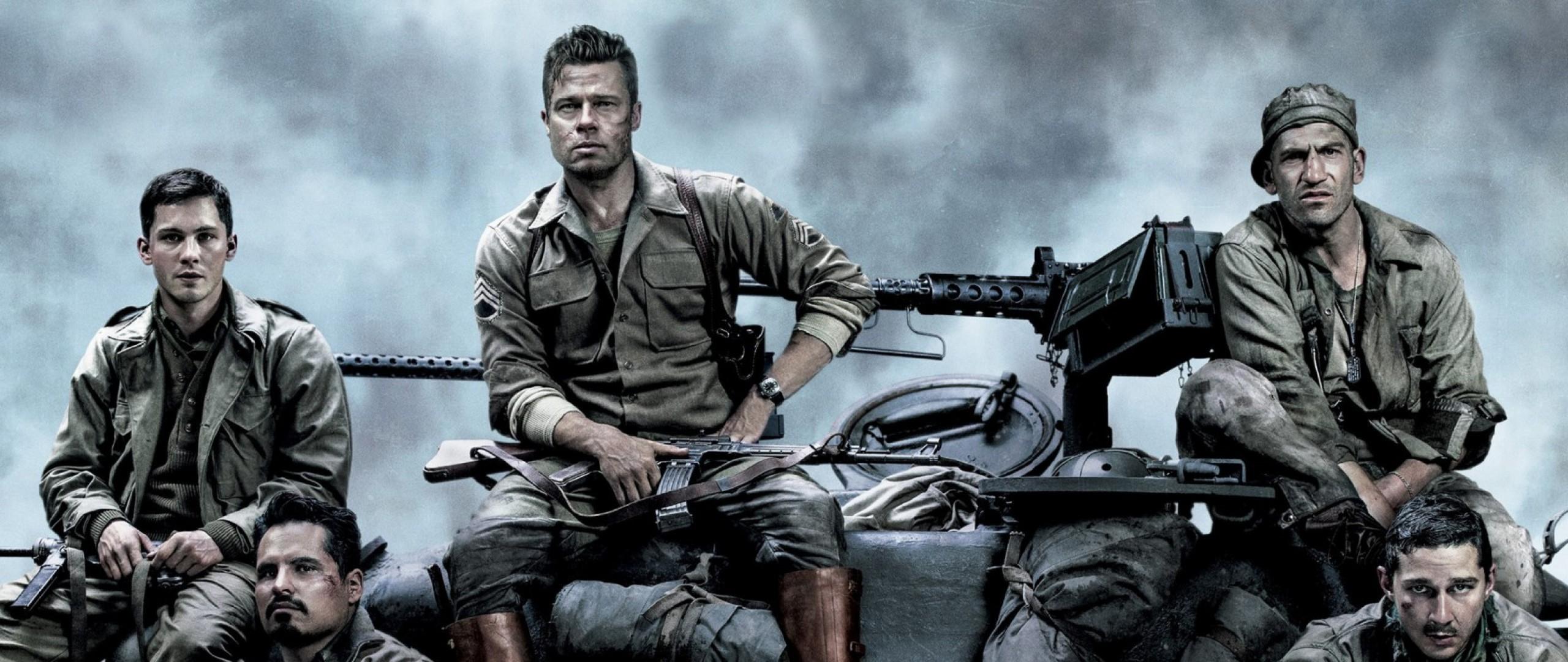 Preview Wallpaper Fury, Brad Pitt, Logan Lerman, Shia Labeouf, Michael Pena  2560×1080