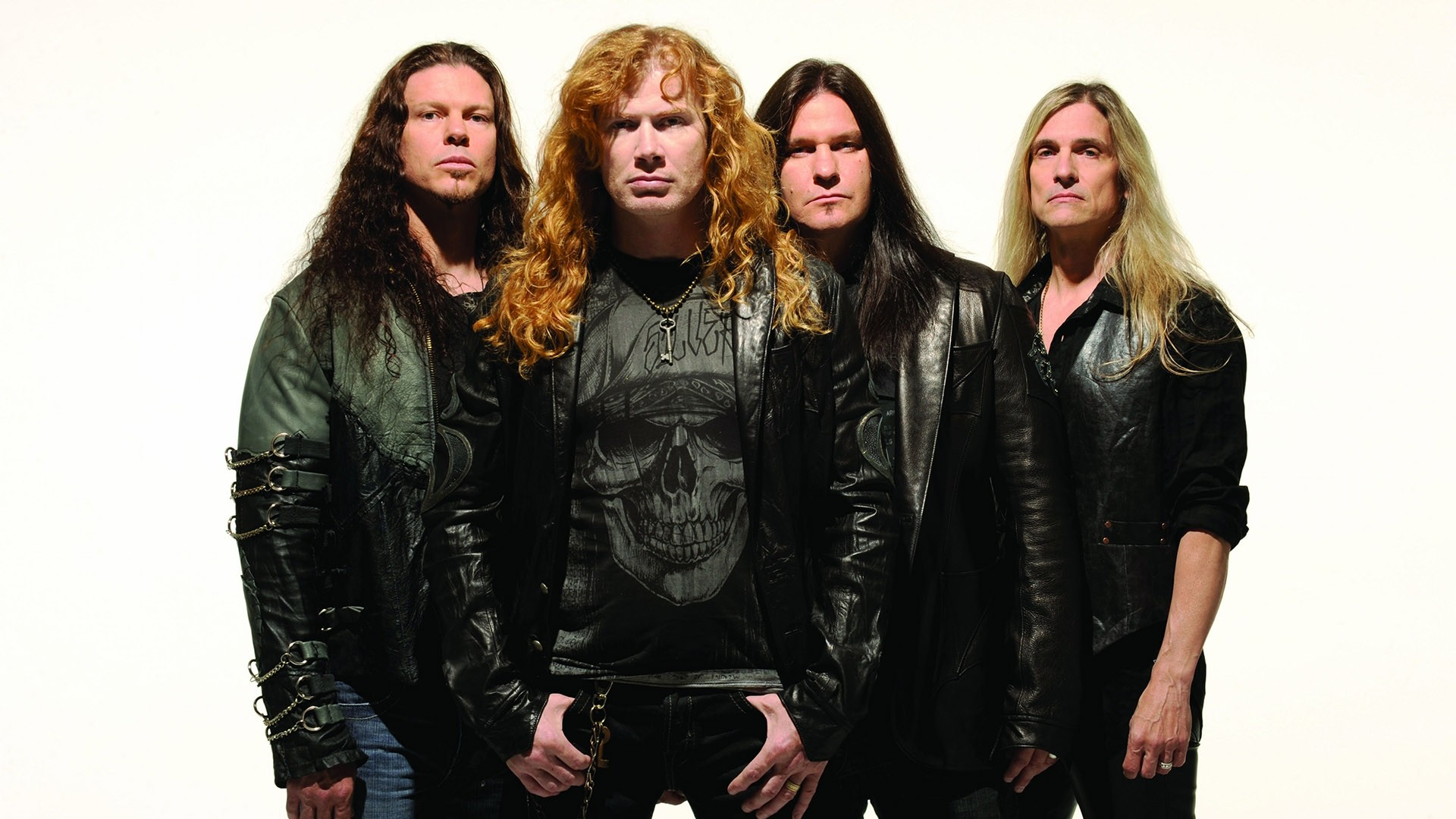 Preview wallpaper megadeth, hair, jackets, skull, chains 1920×1080