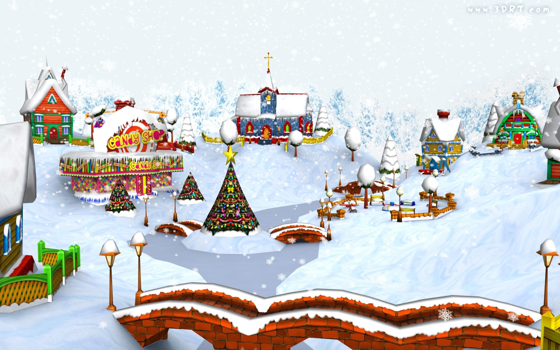 Christmas Cartoon Village Wallpaper » WallDevil – Best free HD .