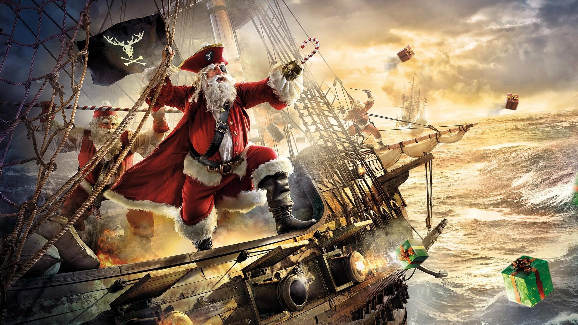 Epic Pirate Santa Clause Christmas Wallpaper