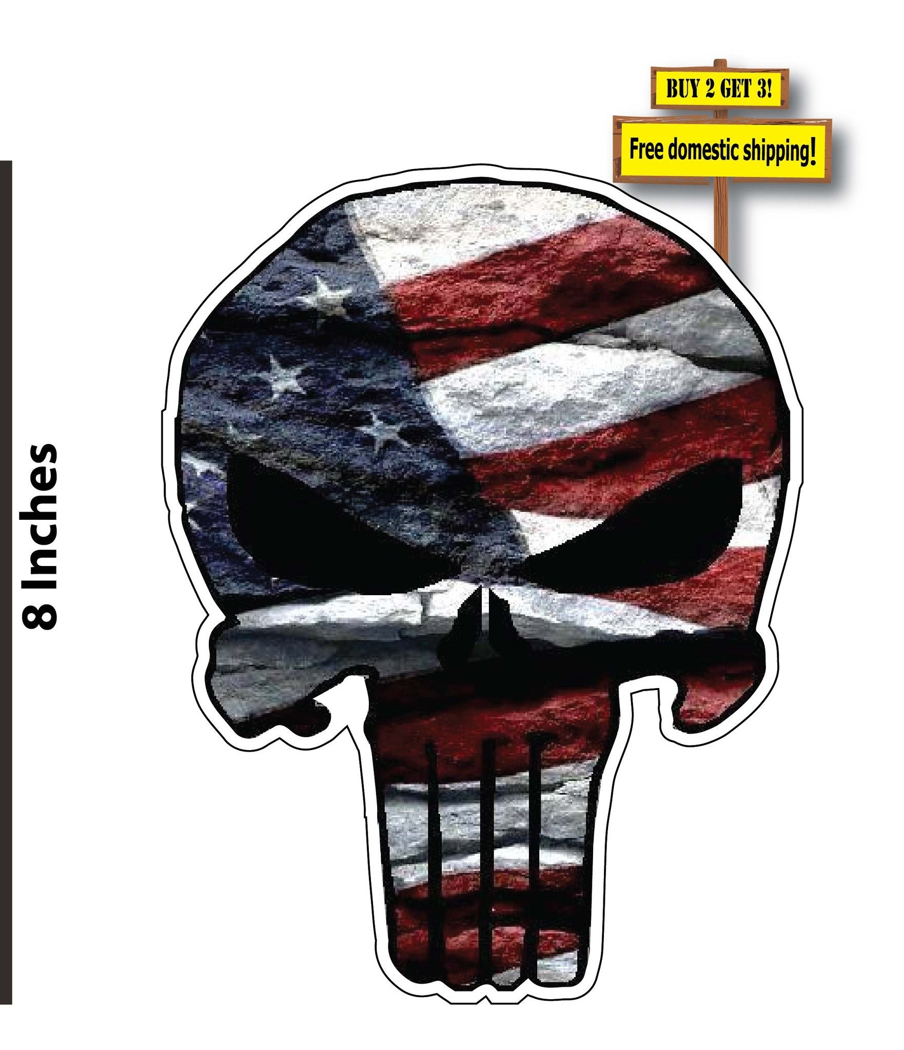American Flag Punisher USA Vinyl Decal Stickers FREE SHIPPING FLG22