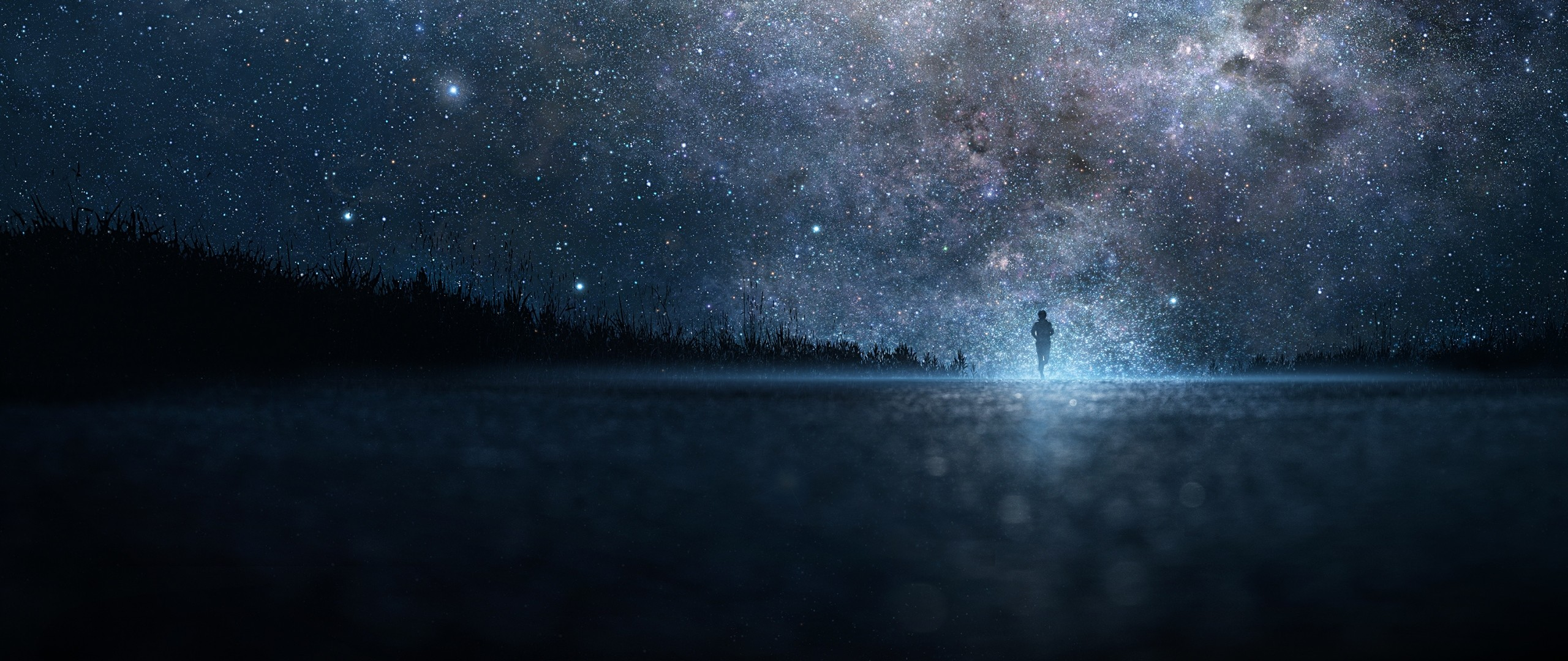 Preview wallpaper star, art, sky, night, people, silhouette 2560×1080