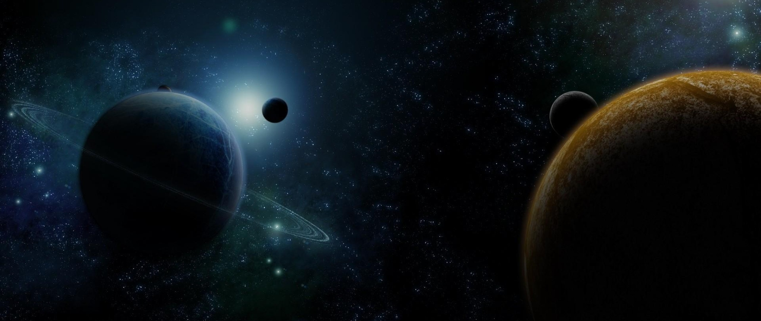 Wallpaper planet, ring, star, space
