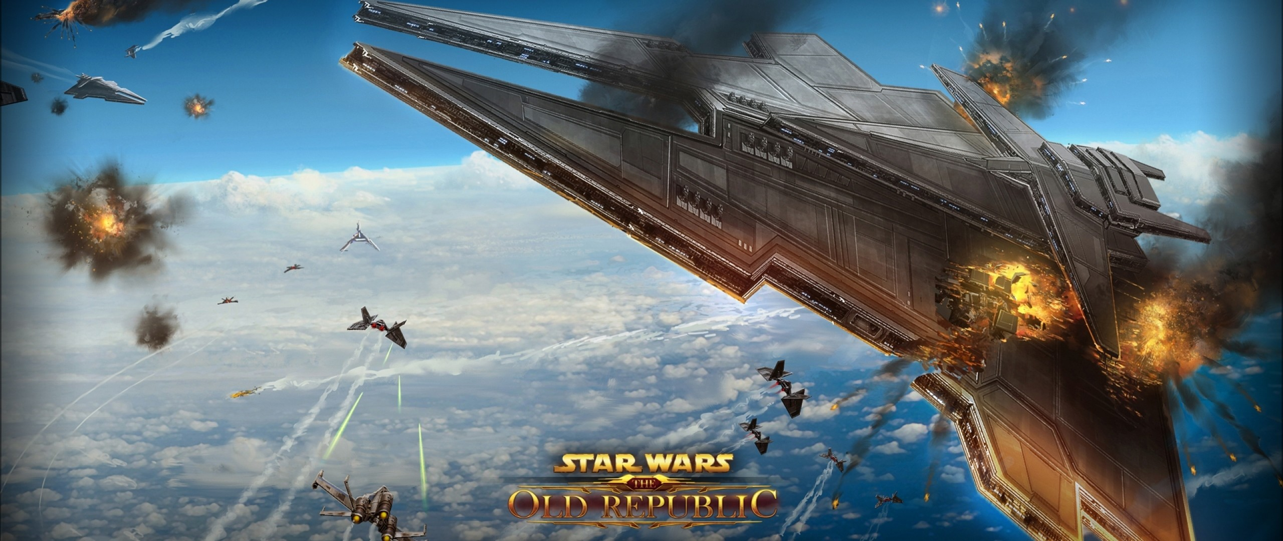 Wallpaper star wars the old republic, airships, battle,  explosion, planet