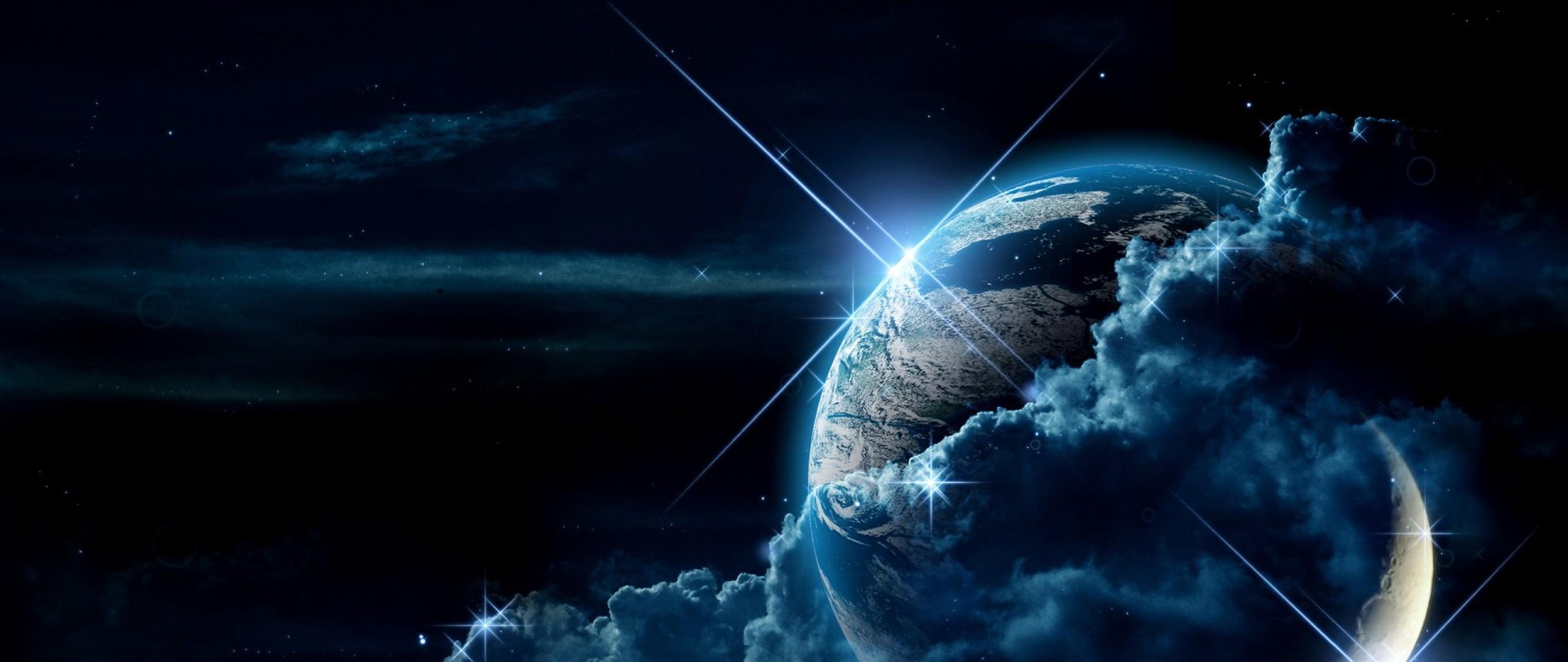 Wallpaper planet, clouds, light, star