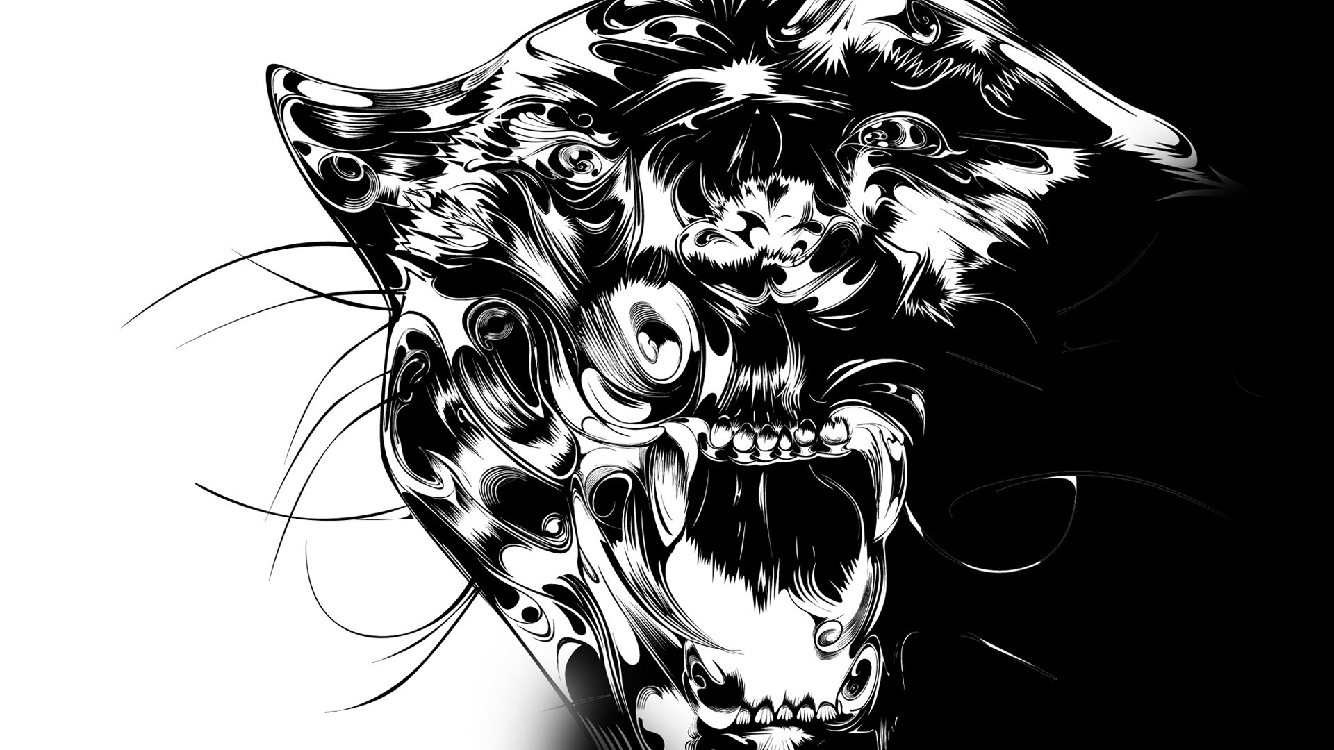 Preview wallpaper panther, patterns, lines, predator, teeth 1920×1080