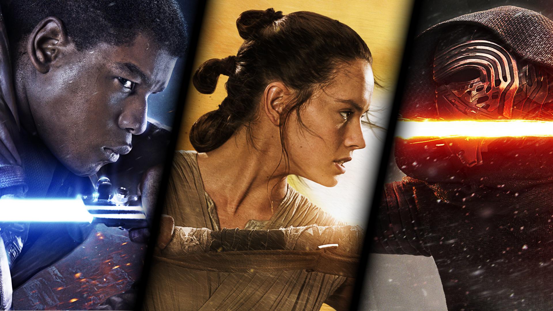 Finn, Rey and Kylo Ren in Star Wars: The Force Awakens wallpaper