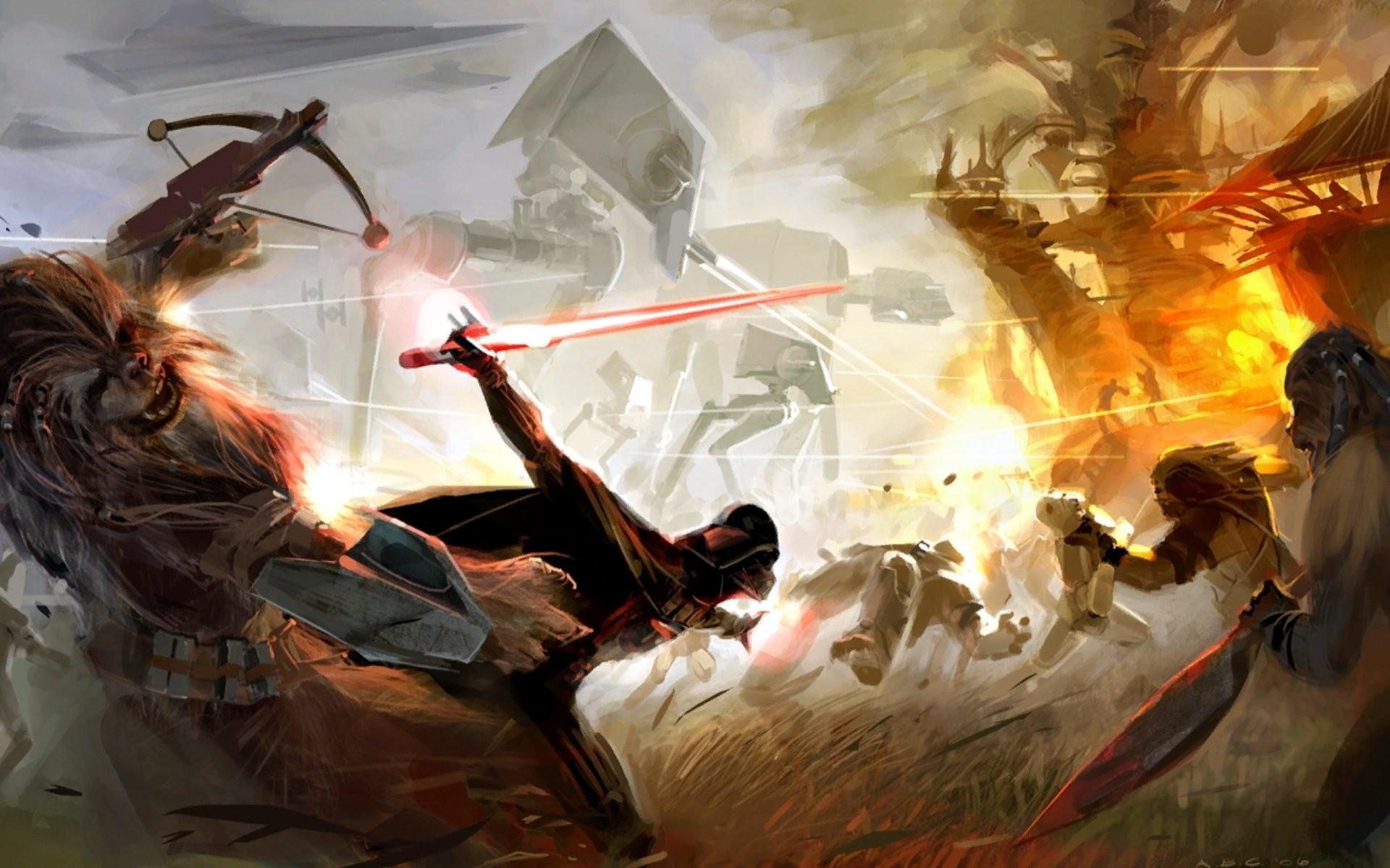 Movie – Star Wars Darth Vader Wookie Battle Wallpaper