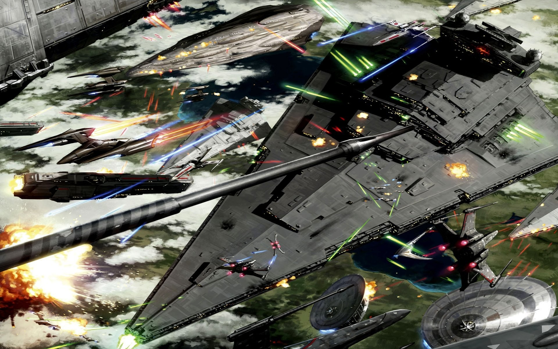 battle of kashyyyk space battle star wars art
