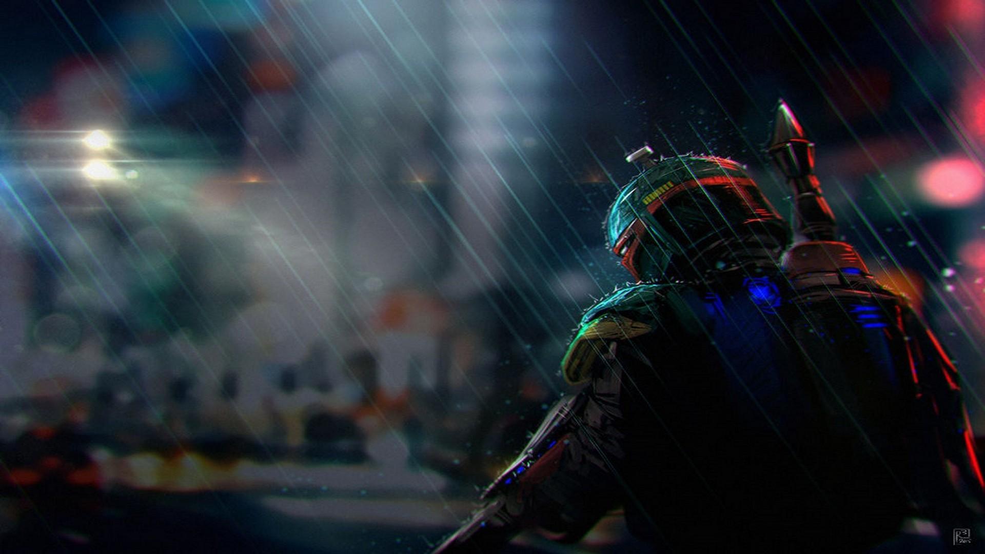 Boba Fett in the rain.