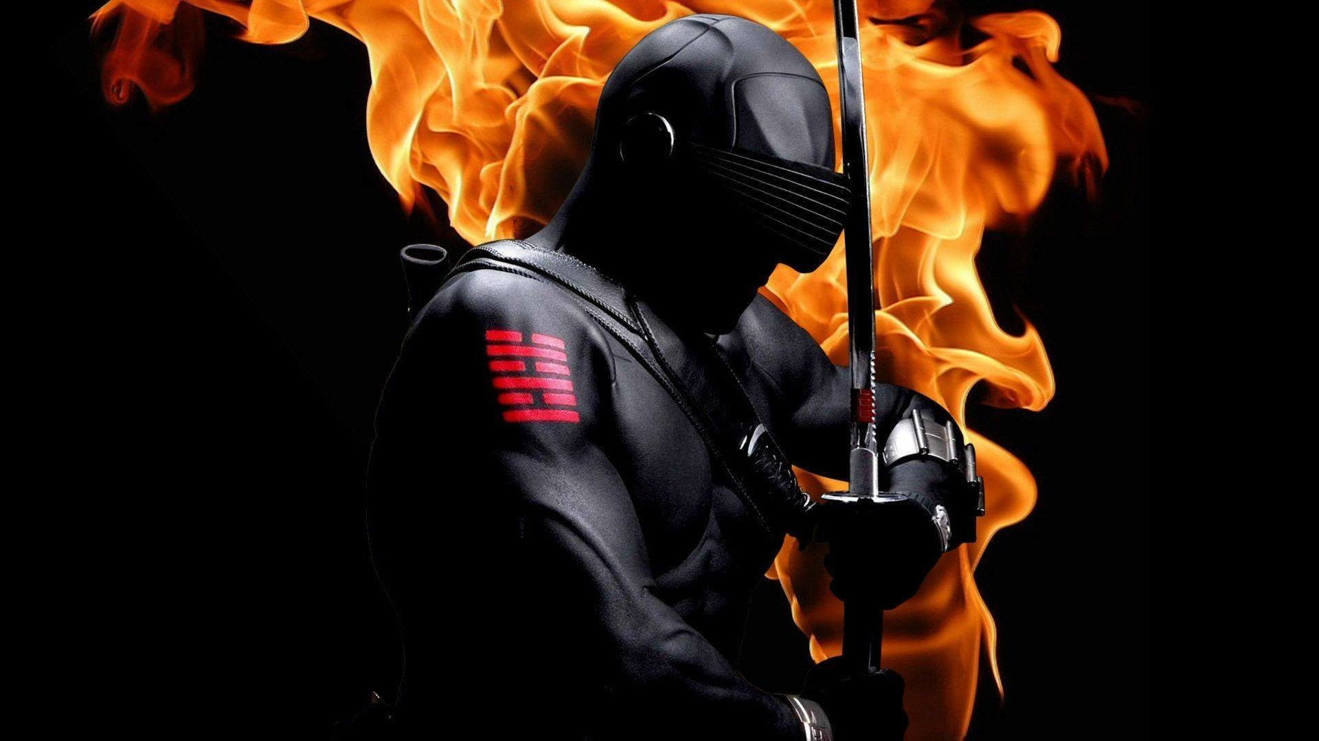 Snake Eyes (G.I. Joe) with sword on fire – Wallpapers Picture