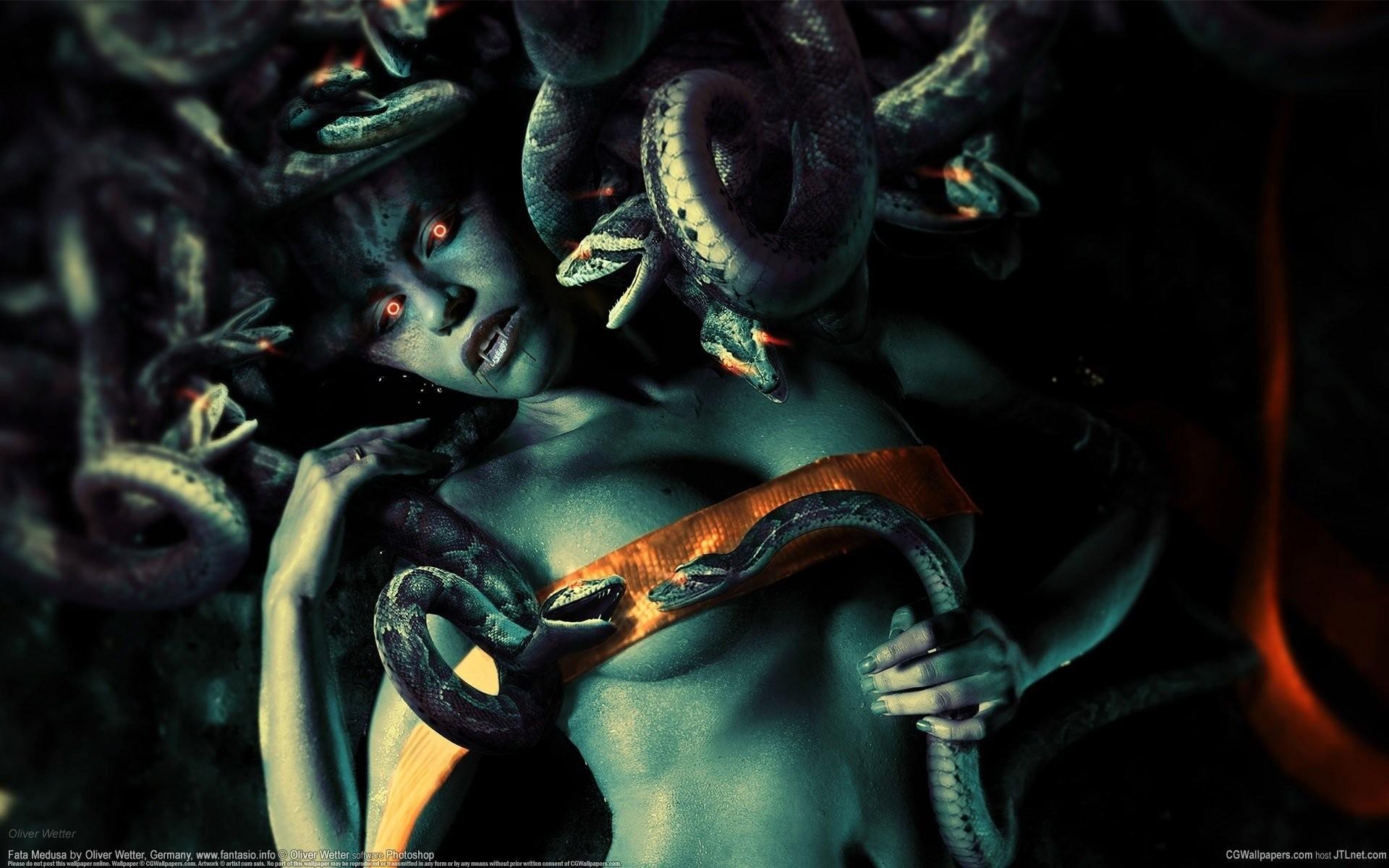 art girl red eyes belt fangs snakes blood snake