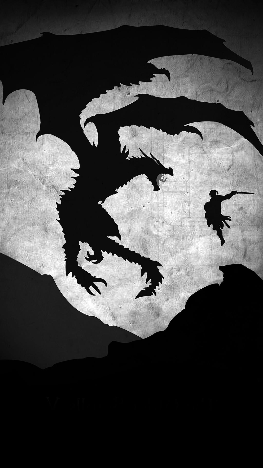 Skyrim Dragon Illustration Art Bw #iPhone #6 #wallpaper