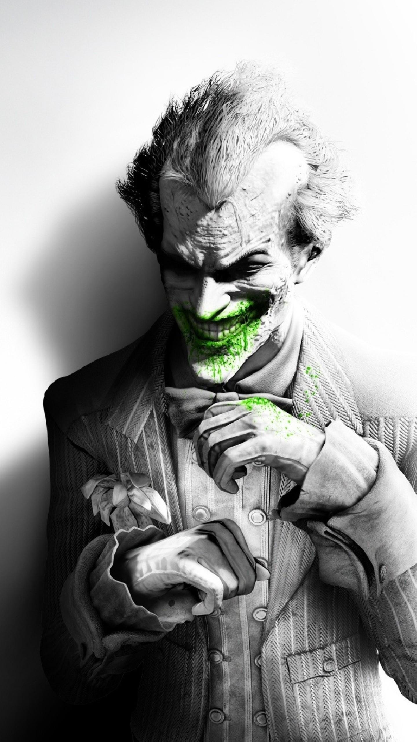 Wallpaper batman arkham city, joker, smile, suit, flower, fan art