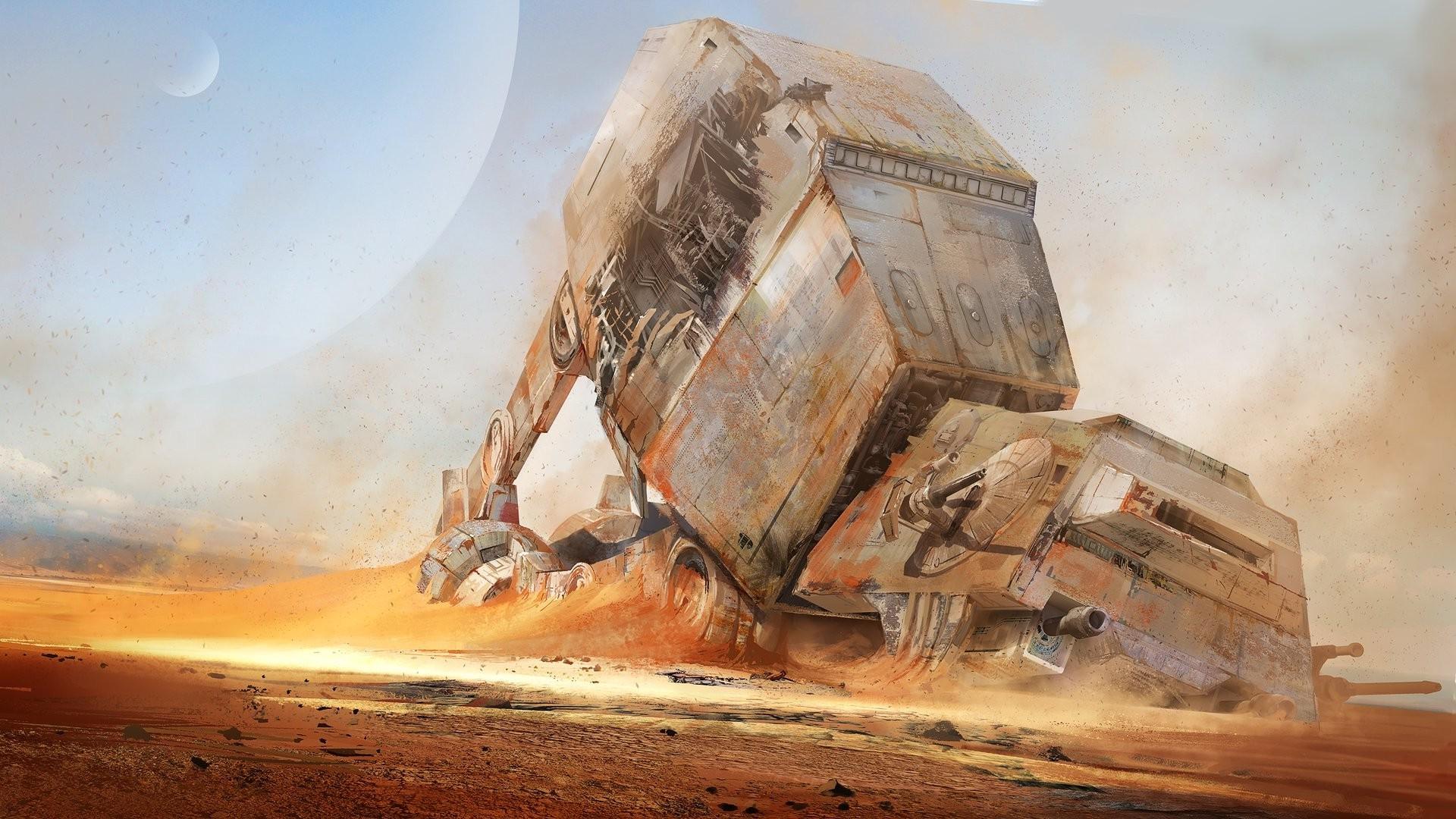 artwork, Concept Art, Star Wars, AT AT, Science Fiction, Digital Art,  Desert, Wreck Wallpapers HD / Desktop and Mobile Backgrounds