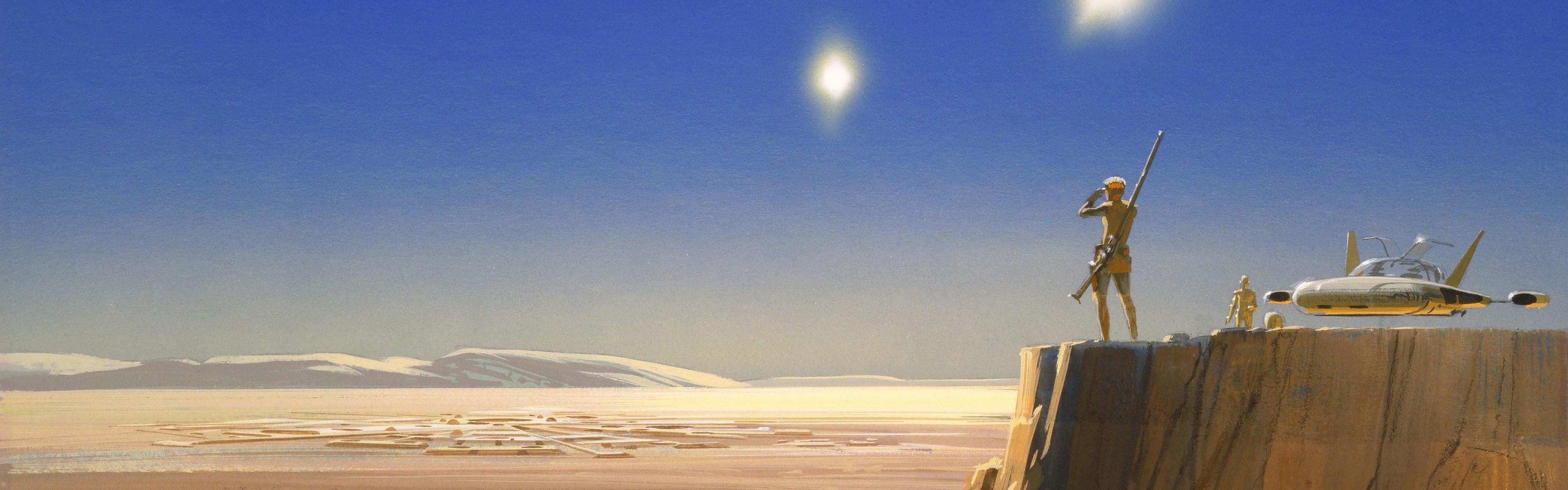 Star Wars, Tatooine, Desert, Artwork, Dual Monitors, Multiple Display, Concept  Art Wallpapers HD / Desktop and Mobile Backgrounds