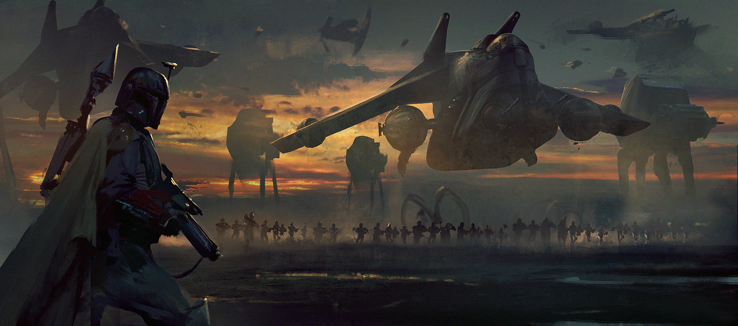 """Box cover art done for """"Between The Shadows"""" expansion set for Star Wars LCG"""