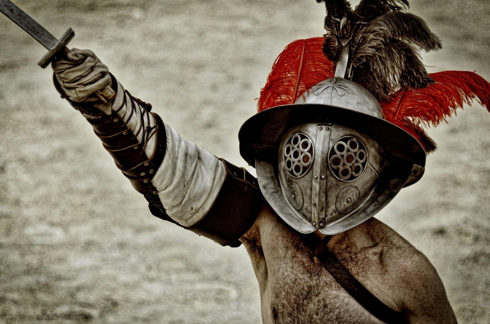 gladiator armour helmet sword greeting