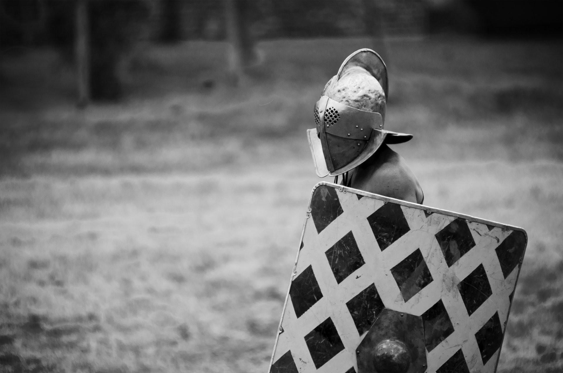 gladiator warrior helmet shield black and white background