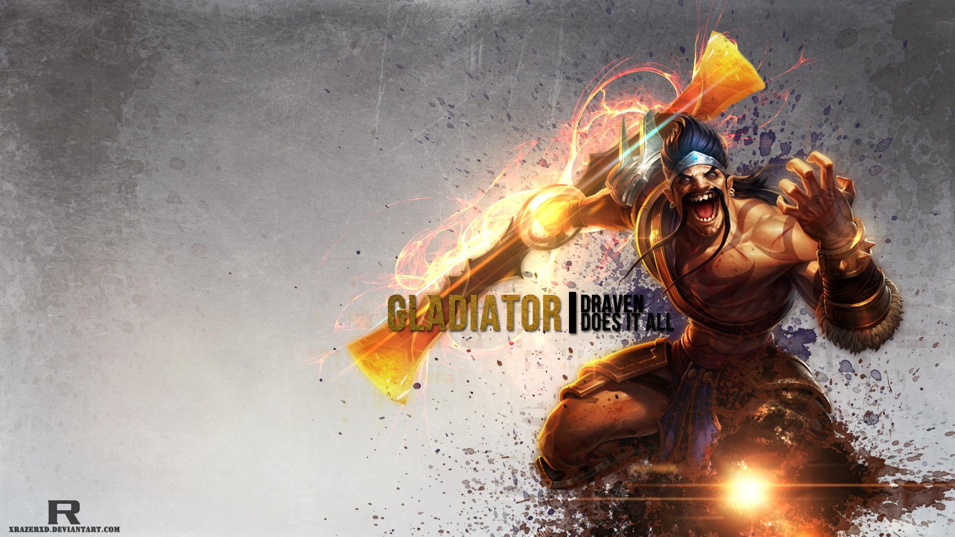 Gladiator Draven by xRazerxD HD Wallpaper Fan Art Artwork League of Legends  lol