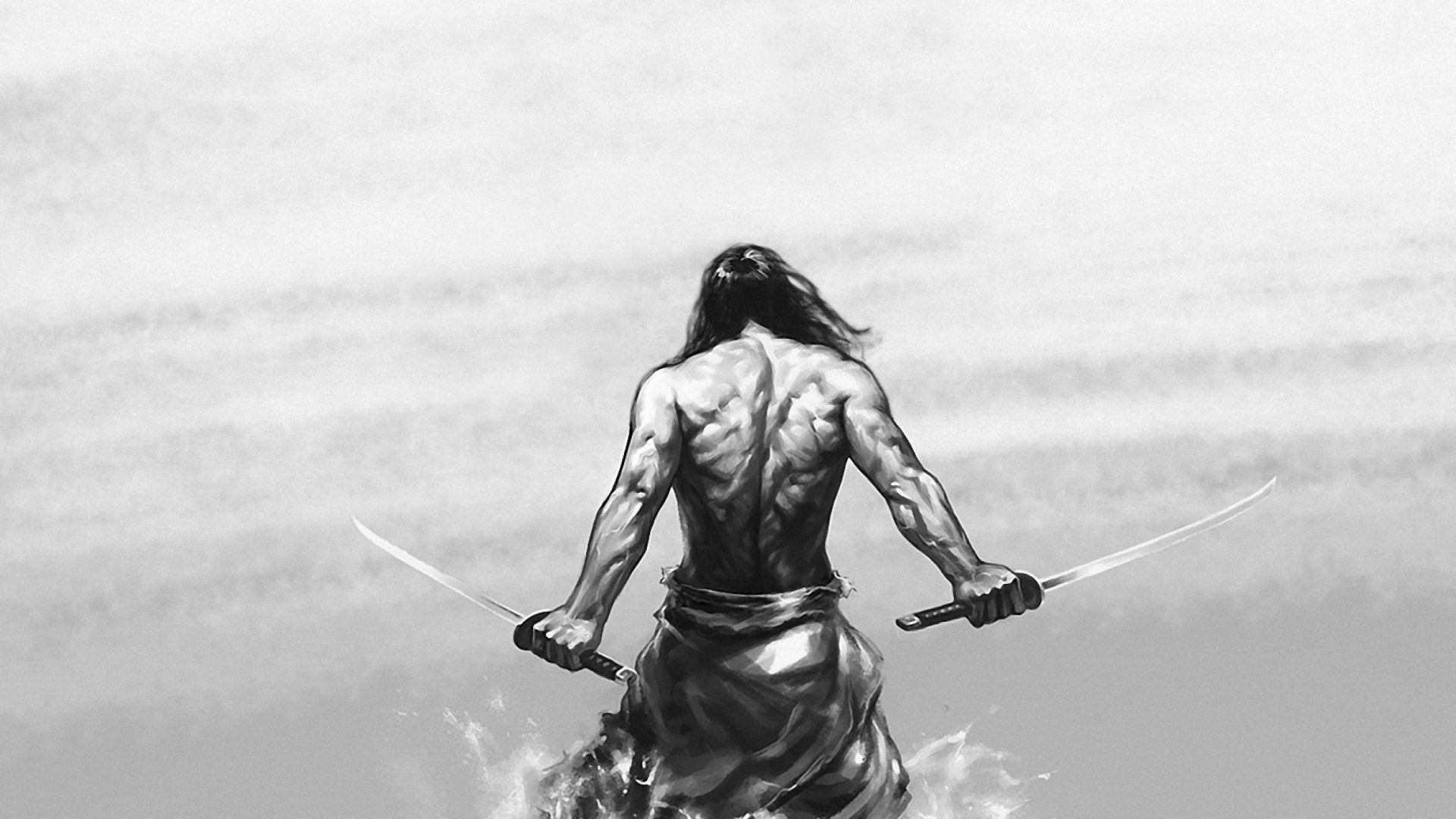 Samurai Fighter Swords Gladiator Long Hairs Warrior Artwork Fantasy Drawing
