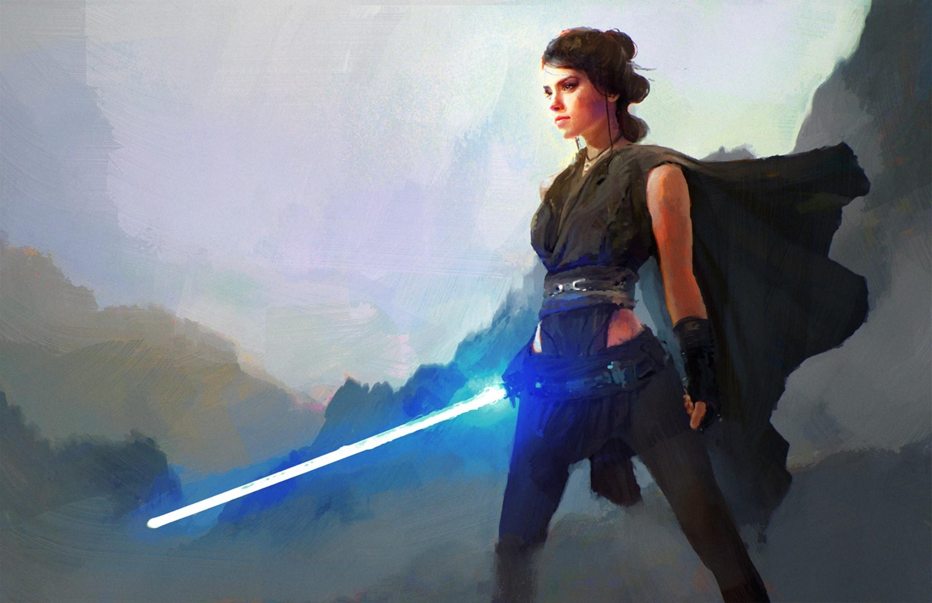 General Star Wars women artwork fantasy art science fiction Jedi  lightsaber Rey Daisy Ridley