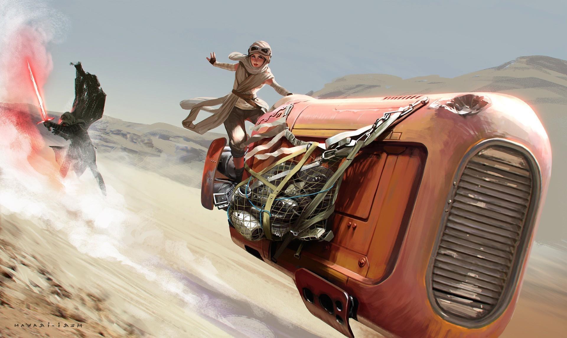 Kylo Ren, Rey, Star Wars, Artwork, Star Wars: The Force Awakens Wallpapers  HD / Desktop and Mobile Backgrounds
