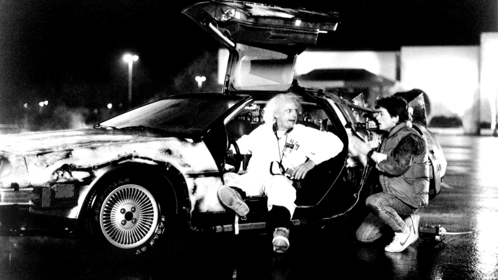 black and white delorean back to the future time machine doc brown michael  j fox marty