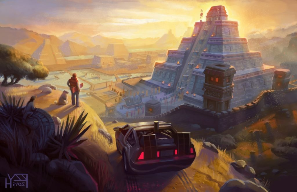 artwork, Fantasy Art, Back To The Future, DeLorean, Pyramid, Movies, Mayan,  Aztec Wallpapers HD / Desktop and Mobile Backgrounds