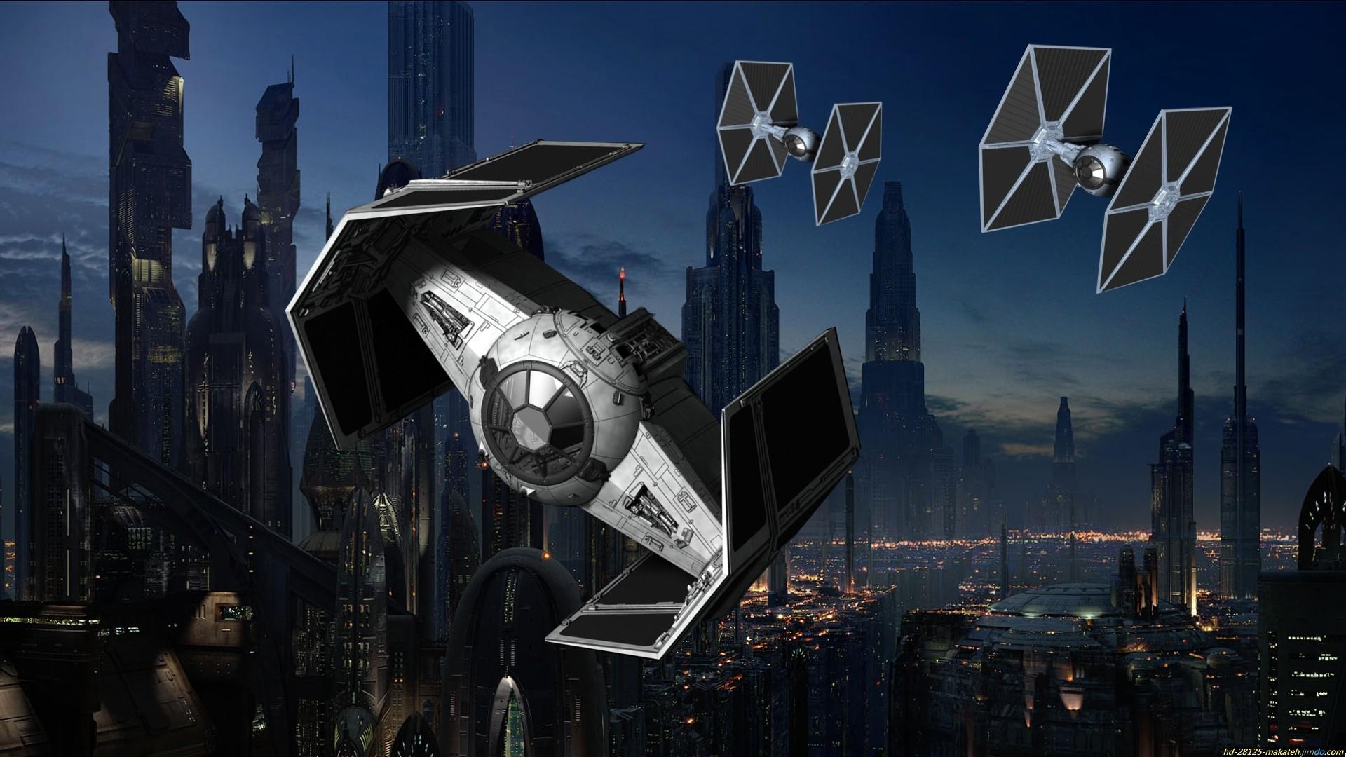 Sci Fi – Star Wars Planet Sci Fi Moon People Spaceship Space TIE Fighter  Wallpaper