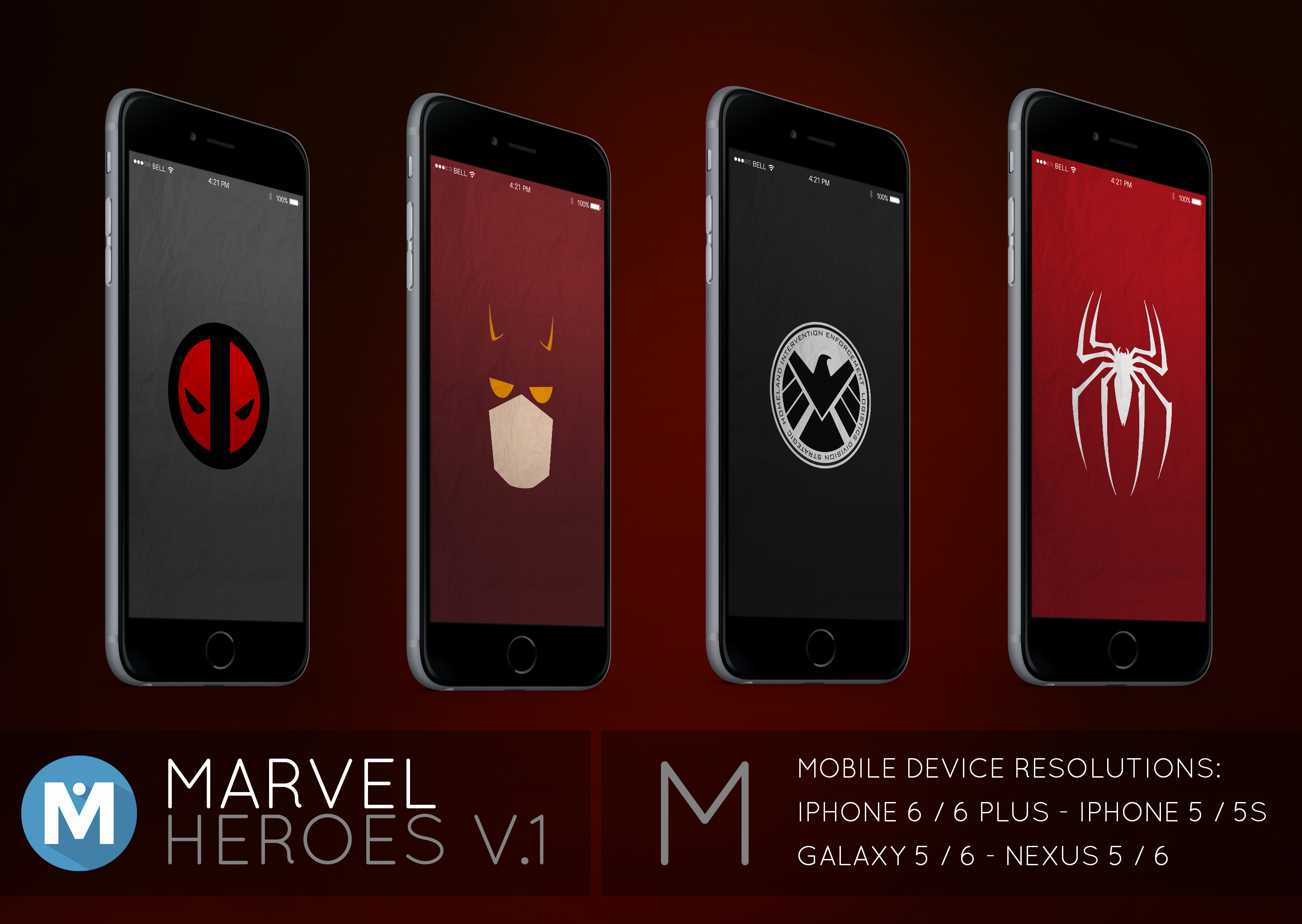… MOBILE : Marvel Heroes 1 Wallpaper Pack by polygn