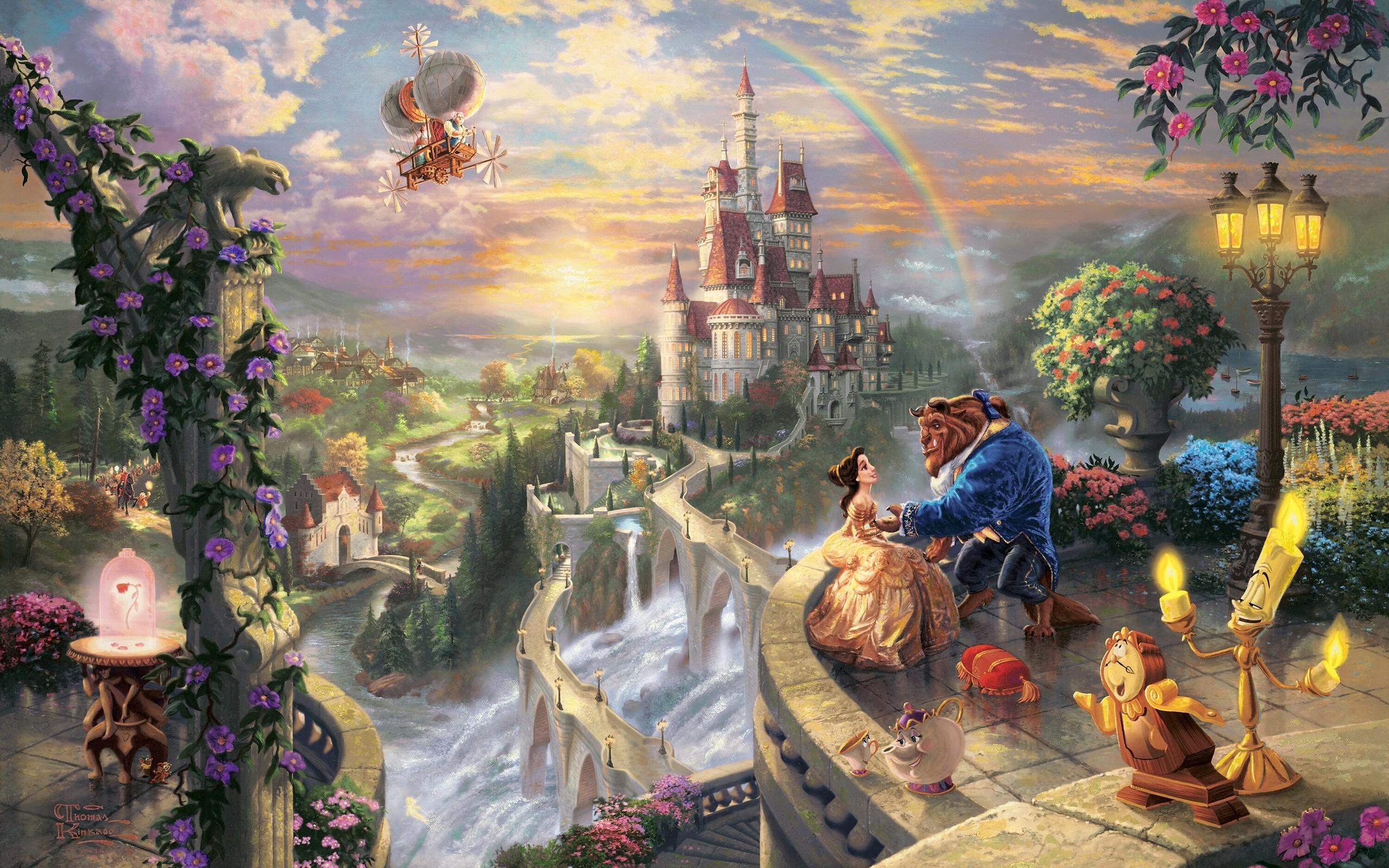 thomas kinkade waterfalls fairy tales beauty and the beast wallpaper .