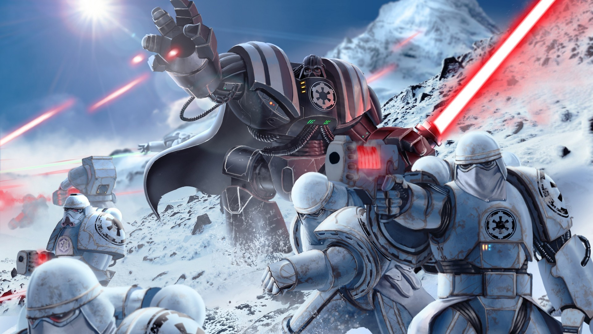 Warhammer Stormtroopers Darth Vader Wallpaper